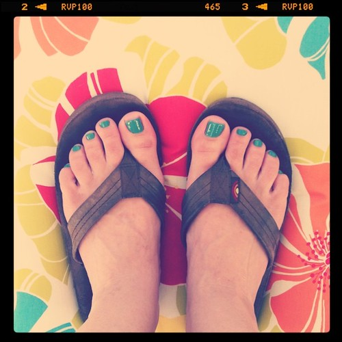First pedicure of the summer! Using my awesome polish all the way from Switzerland ;] @technicolor