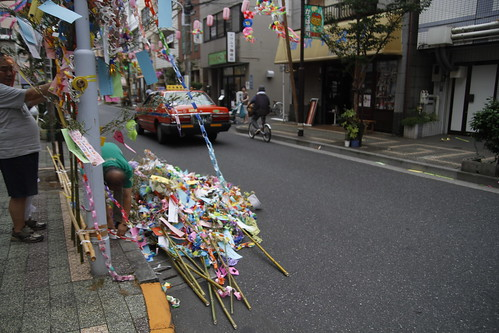 Men preparing the streamers for Tanabata festival