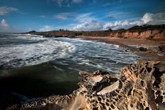 Clouds Stayed Mostly To The East - (Walter B) Tags: ocean longexposure travel reflection northerncalifornia landscape photography nikon waves pacificcoasthighway1 tafoni d40x