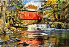 Digital Oil Painting of the Pack Saddle Covered Bridge (PhotosToArtByMike) Tags: autumn fall waterfall pennsylvania scenic pa computerart coveredbridge brushcreek somersetcounty landscapepainting packsaddlecoveredbridge digitaloilpainting
