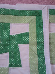 IMG_1369 (just me, molly) Tags: baby green wheel pin quilt border polka dot pinwheel whirligig mitered
