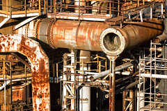 pipes on industrial factory (Mimadeo) Tags: plant abandoned industry metal stairs energy iron industrial factory technology power steel grunge pipes tube tubes pipe dirty gas valve oil production petrol facility piping distillery refinery fuel tanks chemical petroleum petrochemical