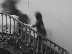 The hand on the stair (lynn.pascoe) Tags: stairs hand movement people busy rail decorations longexposure