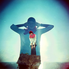 -0000 (hey.poggy) Tags: 120 6x6 holga lomo friend amy hijab bluesky squareformat malaysia ph terengganu holga120cfn creativeportrait poggy creativeshoot multiexposer lomographycolornegative800 ikharazali poggyhuggies mrhuggies