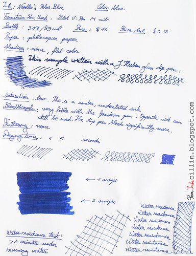 Noodler's Polar Blue on photocopy