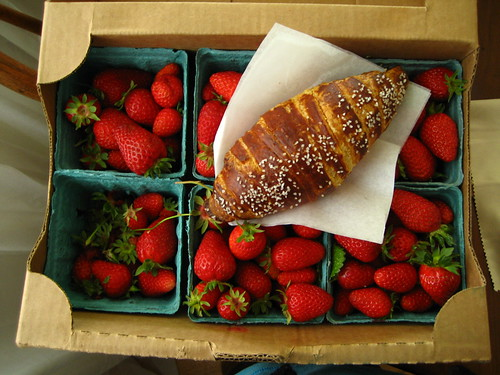 Strawberry Cake for my Birthday, and a bavarian croissant