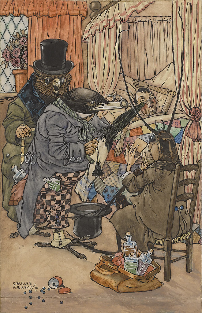 Charles James Folkard - The Doctors Came Immediately, Pinocchio illustration, 1910