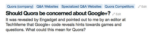Google+ code reveals hints towards games and questions. What could this mean for Quora?