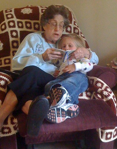 Grandma reading to Jenna