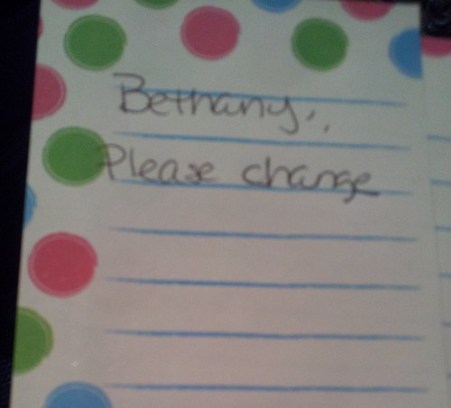 Bethany, Please change