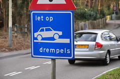 Car encounters an obstacle (Michiel2005) Tags: holland netherlands sign warning nederland bord letop waarschuwing drempel