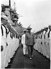 Photograph of President Harry S. Truman as He Inspects the Personnel of the USS Missouri, ca. 09/08/1947 (The U.S. National Archives) Tags: ship inspection sailors 1940s marines sailor battleship usnavy usn warship 1947 ussmissouri unitedstatesnavy harrystruman bb63 standingatattention iowaclass ussmissouribb63 usnationalarchives harrystrumanlibrary nara:arcid=6233769