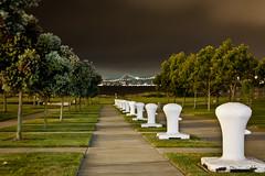 To the Bridge (Ron Rothbart) Tags: nightphotography trees night oakland baybridge middleharborpark portofoakland npy