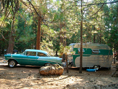 Forest Green (misterbigidea) Tags: burney falls california camping lifestyle style vintage car chevy chevrolet belair matching trailer campsite timewarp forest woods green hotrod hotwheeeeels vacation pine trees recreation picnic camp stuffilike caughtmyeye statepark combo rig classic auto landscape 2tone 1956 shiny chrome explore outdoor