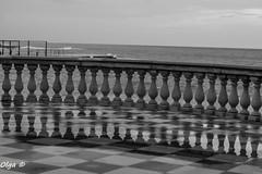 Terrazza Mascagni, particolare. (Petit Ampoule) Tags: city winter sea italy water 50mm italia mare rainy toscana livorno biancoenero citt terrazzamascagni d3100