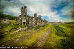 Cottage Ruins (Adrian Evans Photography) Tags: uk trees sky house mountains texture abandoned stone wales architecture clouds buildings landscape ruins rocks outdoor decay ruin rusty landmark worn welsh slate snowdonia barracks quarry cottages northwales rhos capelcurig snowdonianationalpark terracedcottages