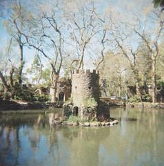 (Monica Forss) Tags: park lake 120 6x6 film portugal analog mediumformat garden lomography sintra toycamera ruin holga120n penagarden lomographycolournegiso100