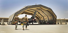 RAF Aircrew Scrambling to their Tornado GR4 Jet in Afghanistan (Defence Images) Tags: uk afghanistan fighter aircraft military hangar jet free equipment british op operation tornado offensive campaign defense defence raf kandahar personnel herrick royalairforce gr4 nonidentifiable