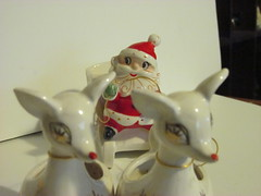whimsical santa and reindeer (N@ncyN@nce) Tags: santa christmas vintage ceramic reindeer antique decoration collection collectible figurine atomic rare porcelain whimsical midcentury holthoward