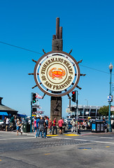San Francisco - Fisherman's Wharf (MikePScott) Tags: sanfrancisco california road street camera sky usa sign logo lens highway streetlight boulevard unitedstates motorway streetlamp pavement flag banner sidewalk lamppost freeway fishermanswharf avenue builtenvironment architecturalfeatures nikond600 nikon28300mmf3556 featureslandmarks