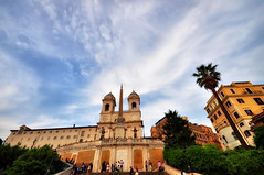 Chiesa di Trinita dei Monti in HDR (Seth Oliver Photographic Art) Tags: italy rome clouds nikon europe cityscapes churches landmarks piazzadispagna blueskies beautifulclouds pinoy spanishsteps romeitaly travelphotography d90 handheldshot singlefilehdr hdrimages aperturef90 europeantravels manualmodeexposure highdynamicrangeimages setholiver1 isolo03 0008secondexposure vacationimages 1024mmtamponuwalens pseudohdrimages chiesaditrinitydiemonti placestoseeandvisitinrome