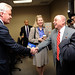 Engineering Dean Louis Martin-Vega greets Jeffrey Immelt, Chairman & CEO of General Electric.