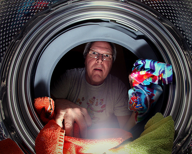 """Clothes come out cleaner, brighter!"" (and women say men can't do laundry...)"