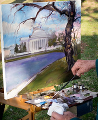 Painting the blossoms (vpickering) Tags: painting dc washington paintings cherryblossom cherryblossoms tidalbasin