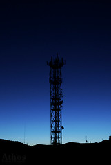 Transmission tower (The girl with the dress) Tags: blue light black night darkness earlymorning