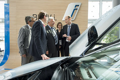 Alexander Dobrindt, José Viegas, Frédéric Cuvillier and Helmut-Joseph Schrammn discuss the BMW i8 at the Exhibition