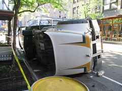 Garbage Truck Crash on 45th Street Today 9605 (Brechtbug) Tags: street new york city nyc morning snow fall kitchen trash truck square garbage theater looking crash accident crashed near district clinton cab taxi hell over broadway january saturday police s east neighborhood collection level sound times trucks squad noise emergency avenue sounds 8th sideways toppled forty fifth collision crashes 45th 2014 05172014