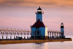 St Joseph Lighthouse sunset (hz536n/George Thomas) Tags: county sunset copyright lighthouse canon spring michigan stjoseph lakemichigan greatlakes canon5d smrgsbord 2014 berrien labcolor cs5 smrgsbord