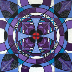 "IMG_2554 (Stephanie ""Biffybeans"" Smith) Tags: blue red art painting artist purple geometry vibrant modernart mandala selftaught sacred meditation spirituality psychedelic lehighvalley visionary stephaniesmith transformational sacredart sacredgeometry visionaryartist personalgrowth bananafactory biffybeans"