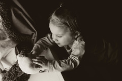 Hello, kitty. (katmariephoto) Tags: summer portrait baby art girl children toy infant child play artistic sweet candid daughter creative young grow soul learn bnw