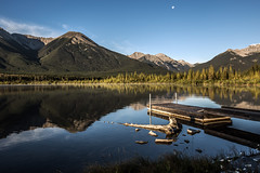 Morning awakening 2 (Mala Gosia) Tags: kajtek malagosia sep272016 vermilionlakes banffnationalpark ab outdoor canoneos6d landscape canada water lake trees stones rocks rockies alberta sunrise dock moon