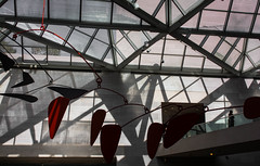 East Wing, National Gallery of Art, Washington, DC (lacafferata) Tags: nationalgalleryofart museum artgallery tourists touristattraction impei caldermobile ceiling roof view glasswindows beamedstructure structuralarchitecture girders steel rectangles parallelograms diamonds triangles red