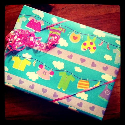 Project 365 159/365: I wrapped up a baby gift for a sorority sister today. I love this wrapping paper.