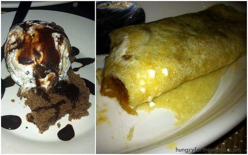 desserts: cake ala mode and crepe