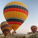 Hot air balloons take off near Goreme, Cappadocia, Turkey