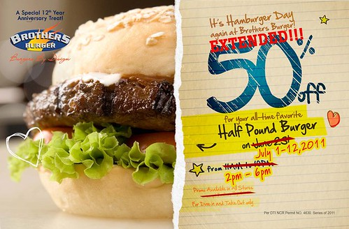 Brothers Burger 12 day Promo July 2011 Half Pound