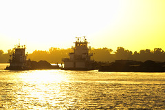 On Golden River (David.Keith) Tags: sunset sky sun water photoshop river mississippi tugboat tug virtualphotographer cs5