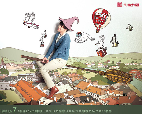 Kim Hyun Joong Lotte Duty Free Calendar Wallpapers [July 2011]