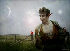 dance with the devil (Eddi van W.) Tags: trees moon flower green art digital stars fun long meadow wiese ears explore textures creativecommons devil pan uni eddi sommernachtstraum