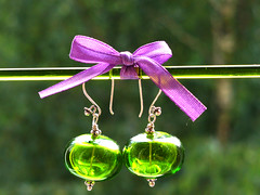 Grin hollow lampwork earings