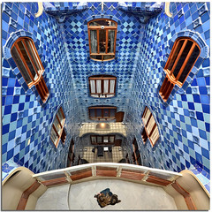 Under my feet in Casa Batllo' (Nespyxel) Tags: barcelona blue windows ceramica architecture square ceramic spain pov blu balcony