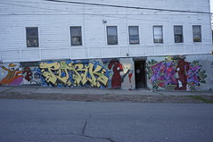 Killer Rabbits!  PORK  CROW (This14u2) Tags: streetart graffiti paint cleveland pork hide tr