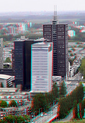 View from HagueTower 3D (wim hoppenbrouwers) Tags: 3d anaglyph denhaag stereo sgravenhage redcyan haguetower haagsetoren viewfromhaguetower uitzichthaagsetoren