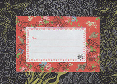 Gold and Silver zentangles envelope (red label) (Chimerastone) Tags: art collage mail drawing stamps envelope mailart hamsters decorated zentangles