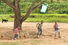 3 boys, a goat, and trash can in a tree (Pejasar) Tags: africa boys children sticks goat ghana westafrica mission trashcan missions duplicate vim amedzofe volunteersinmission firstunitedmethodistchurchtulsa africanchristianmission winnebaschoolteam