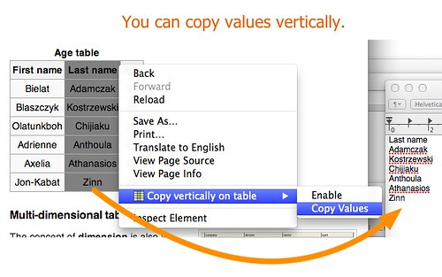 Copy Vertically on HTML table